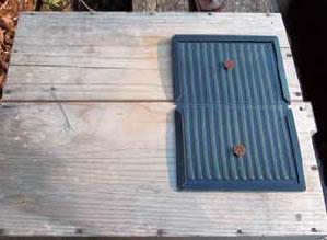巣箱の上にスズメバチの粘着トラップを置いたところ。