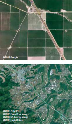 カリフォルニアの農地(上)と熊本県のハウス地帯(下)の比較。ともに上空3,000mから